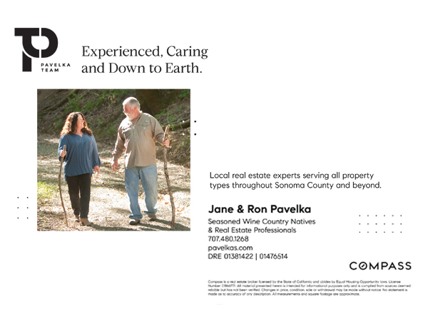 Jane & Ron Pavelka, Seasoned Wine Country Natives & Real Estate Professionals
