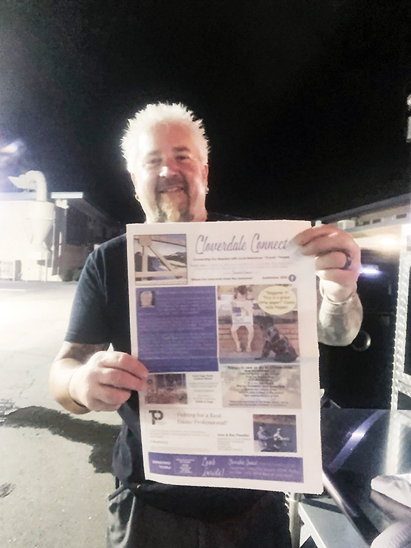 Guy Fieri with Cloverdale Connect newspaper